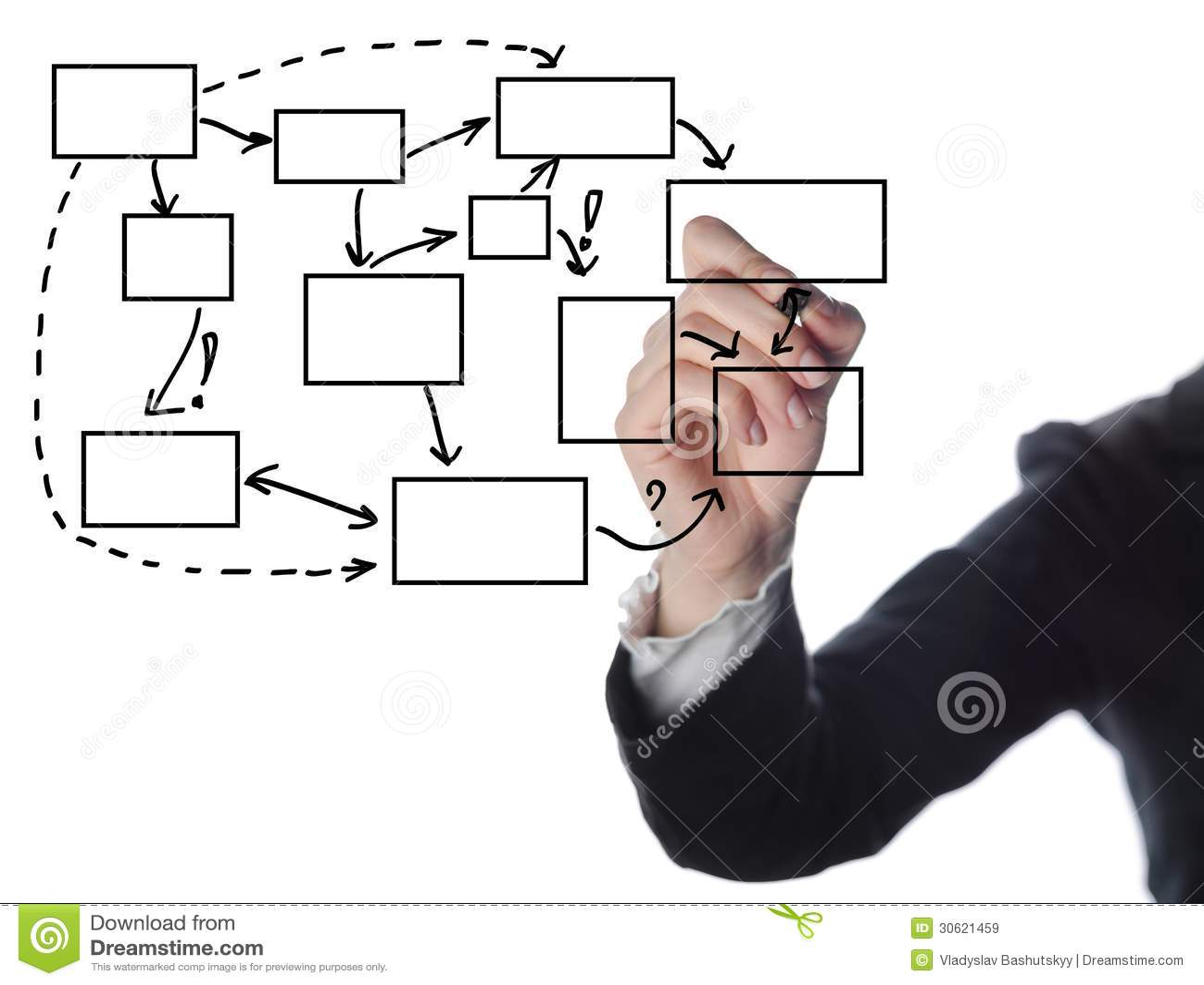 business man writing process flowchart diagram stock image. Black Bedroom Furniture Sets. Home Design Ideas