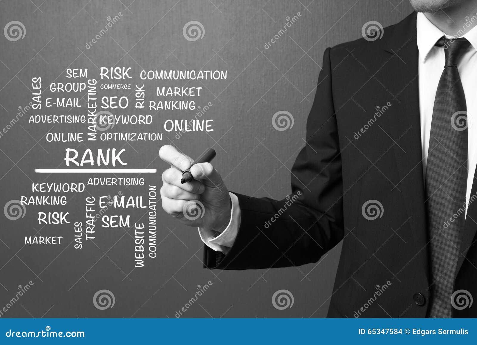 Business man writing Rank word cloud, business concept