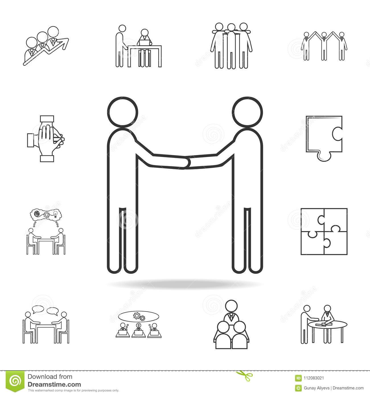 Business Manner Greetings Icon. Detailed Set Of Team Work Outline ...
