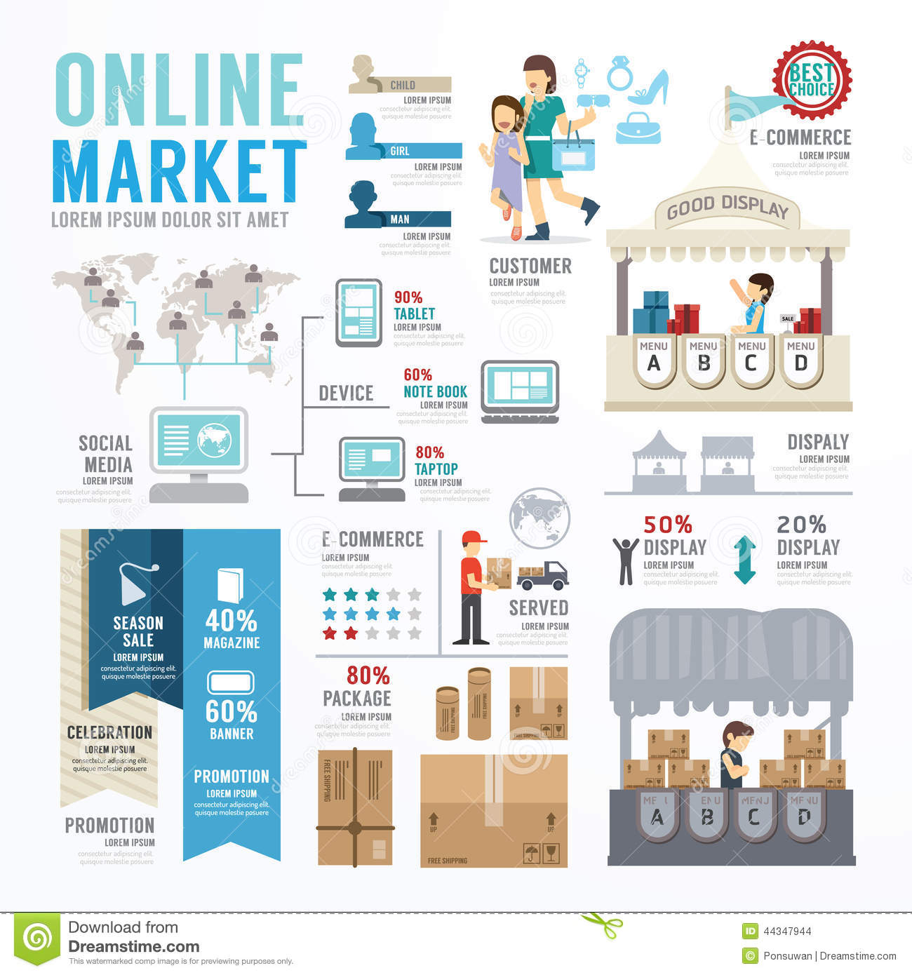 Business market online template design infographic for Blueprint online