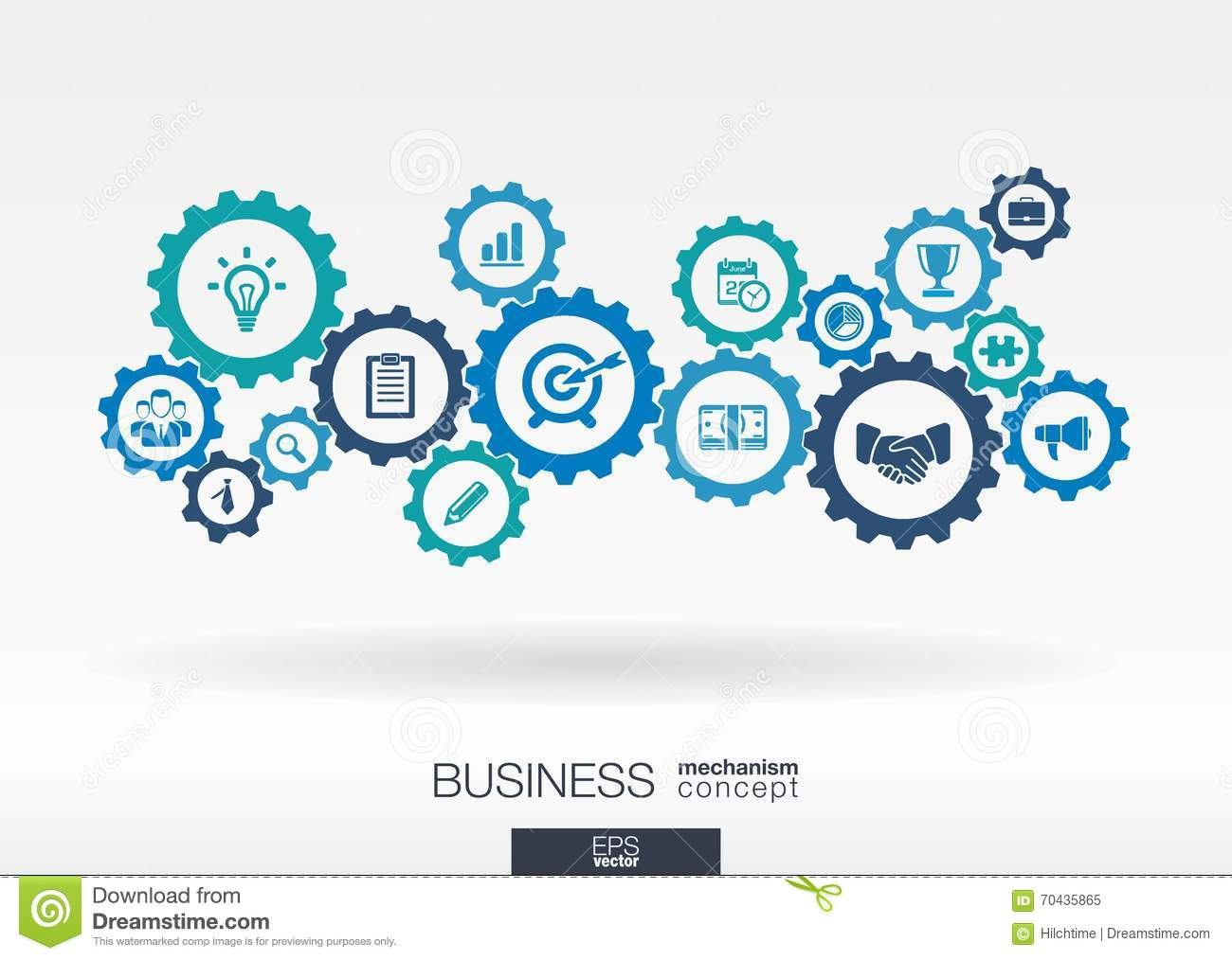 business mechanism concept  abstract background with connected gears and icons for strategy