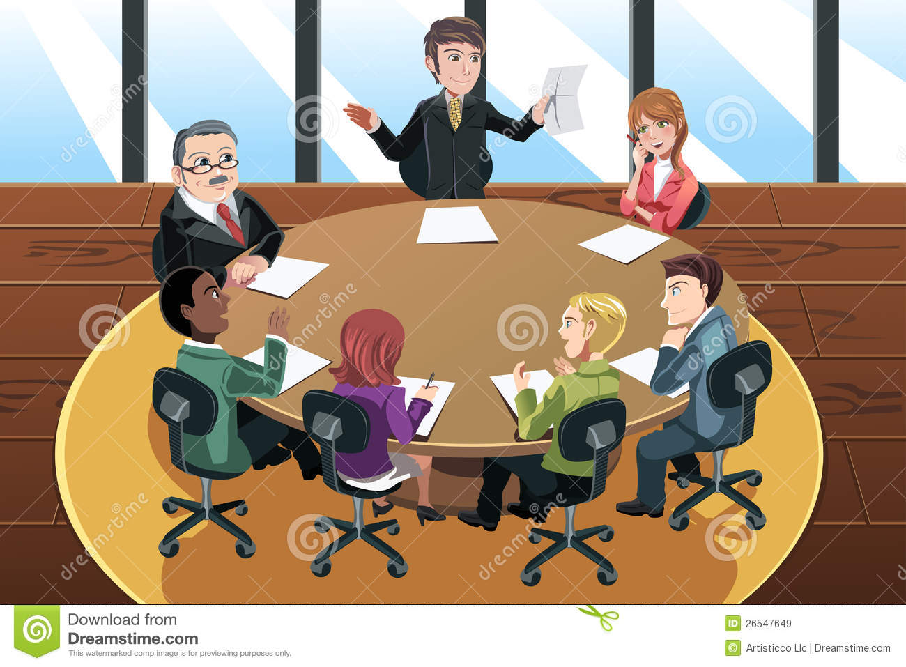 vector illustration of a business people in a meeting in the office.