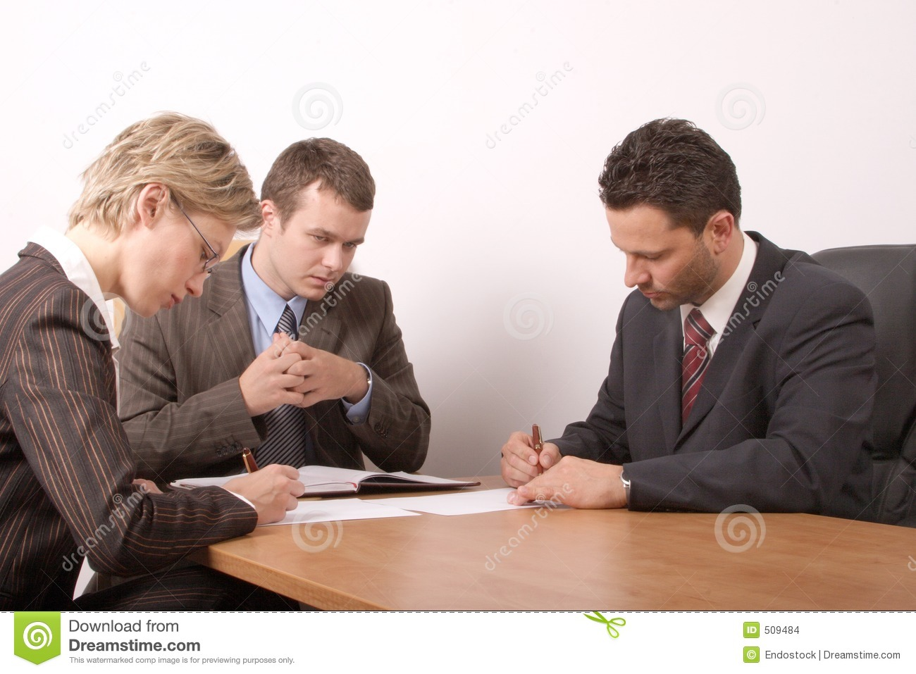 Business Meeting - 3 People - Signing Contract - General ...