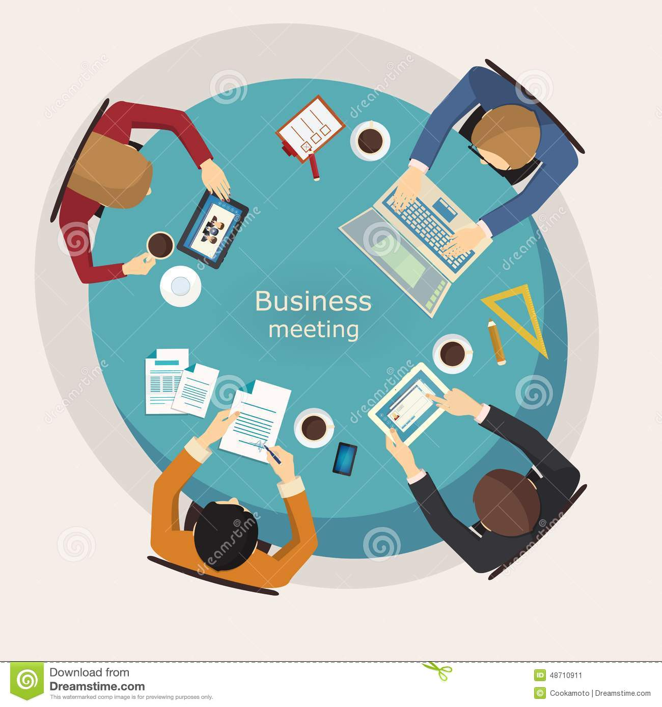 Round table meeting icon - Business Meeting And Brainstorming Flat Design Stock
