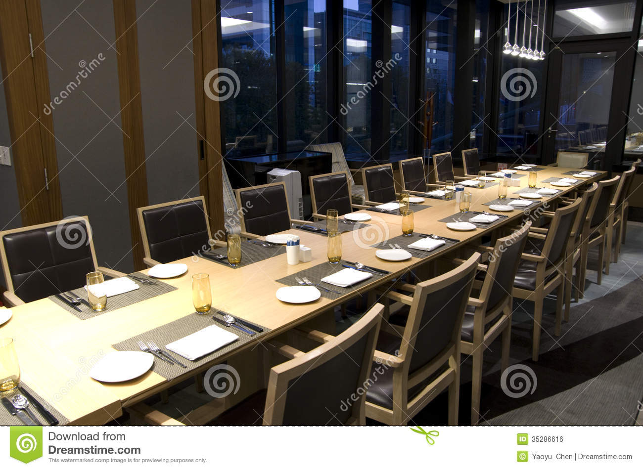 Business Meeting Dining Table In Hotel Restaurant Stock Photo - Private table restaurant