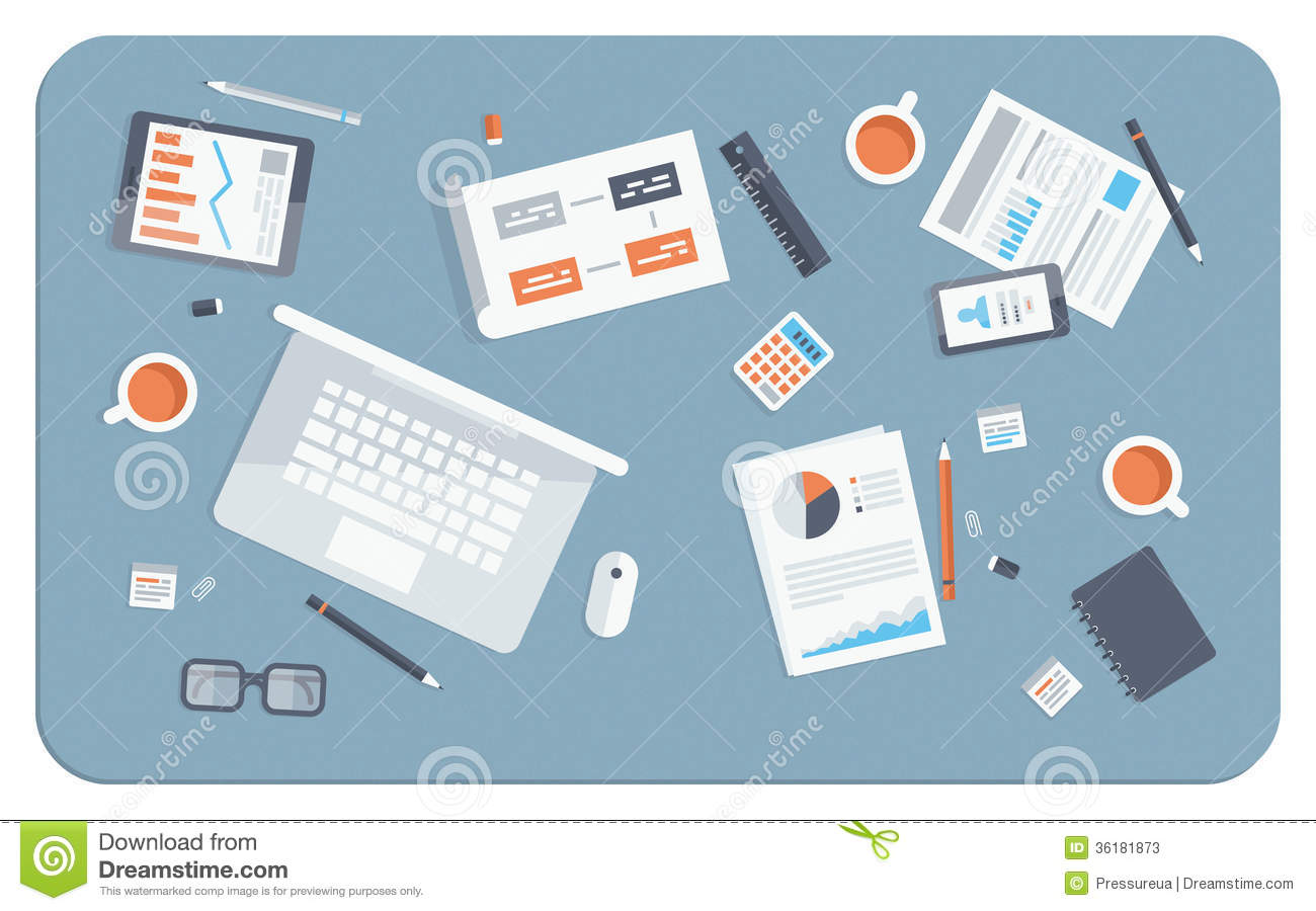 Business meeting flat illustration stock vector image for Table flat design