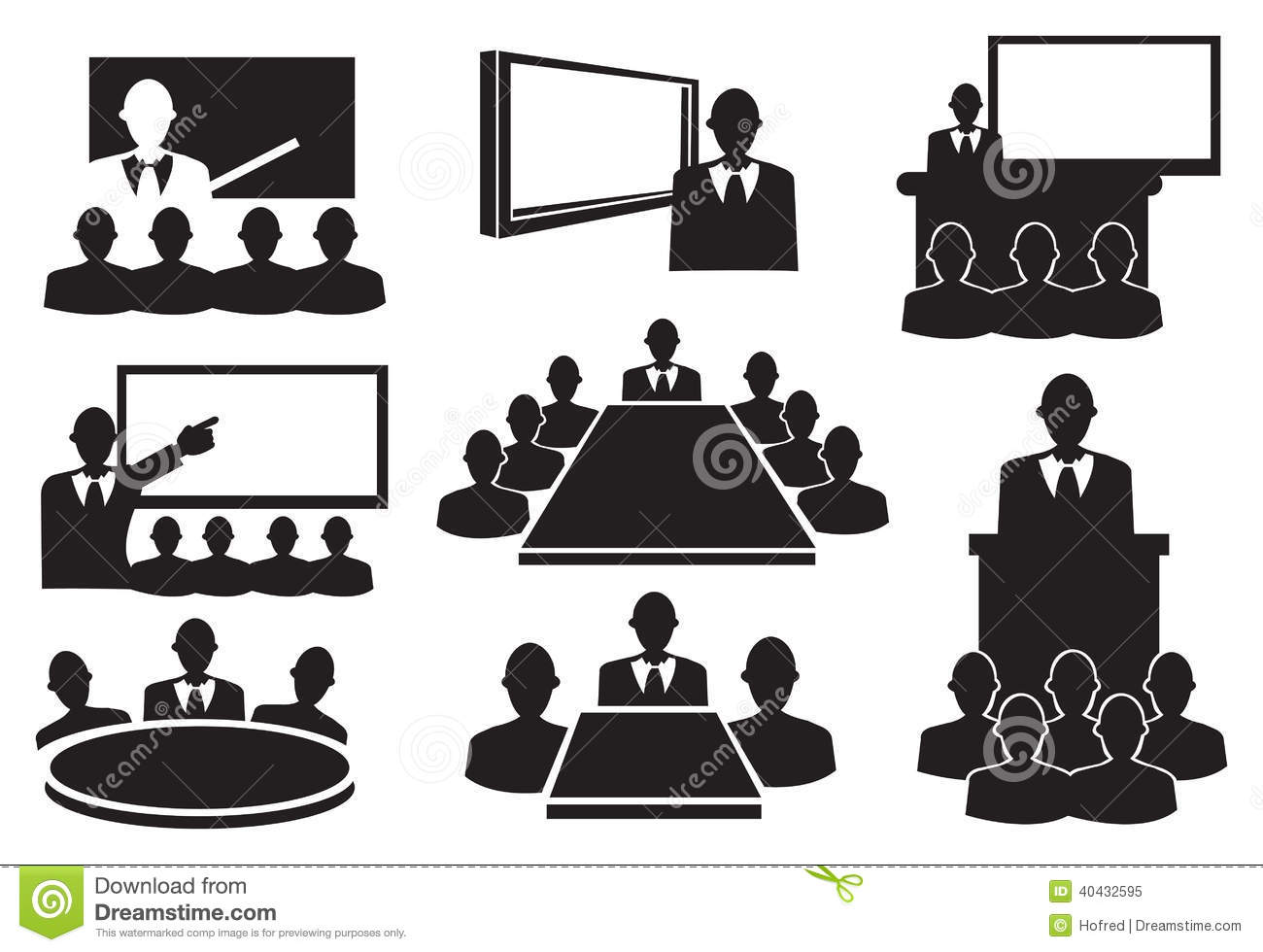 Business meeting clipart black and white