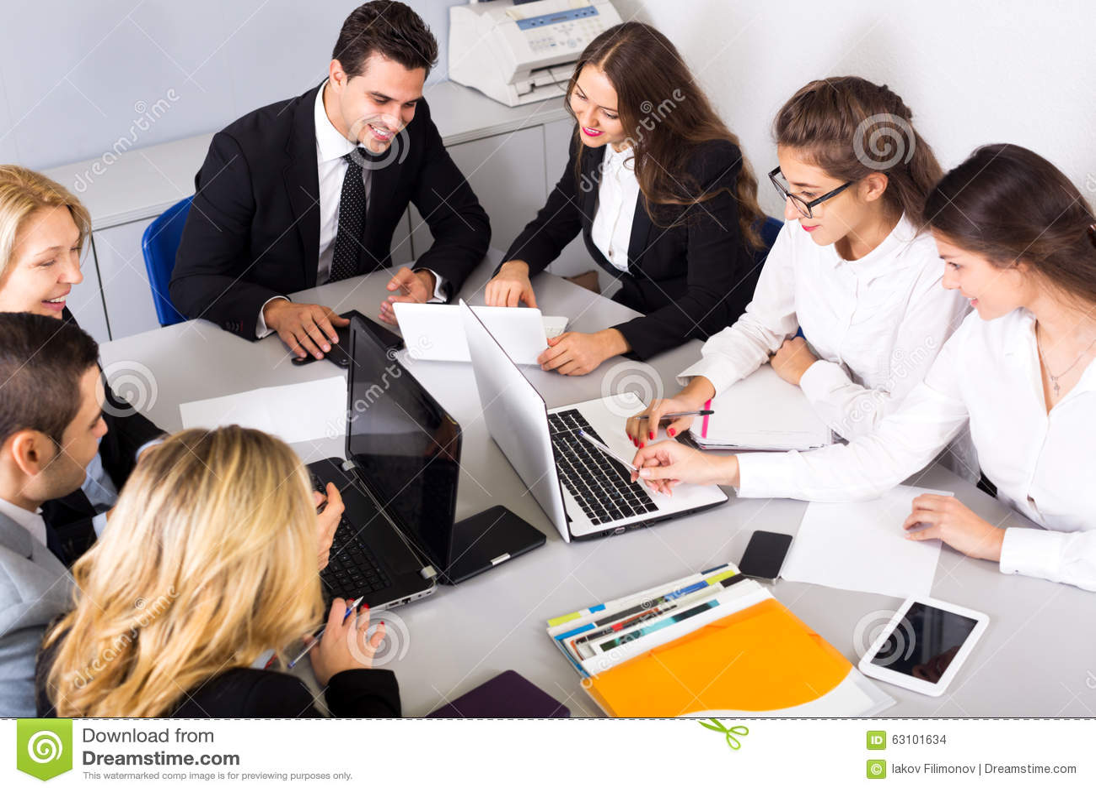 Business Meeting Of Multinational Managing Team Stock