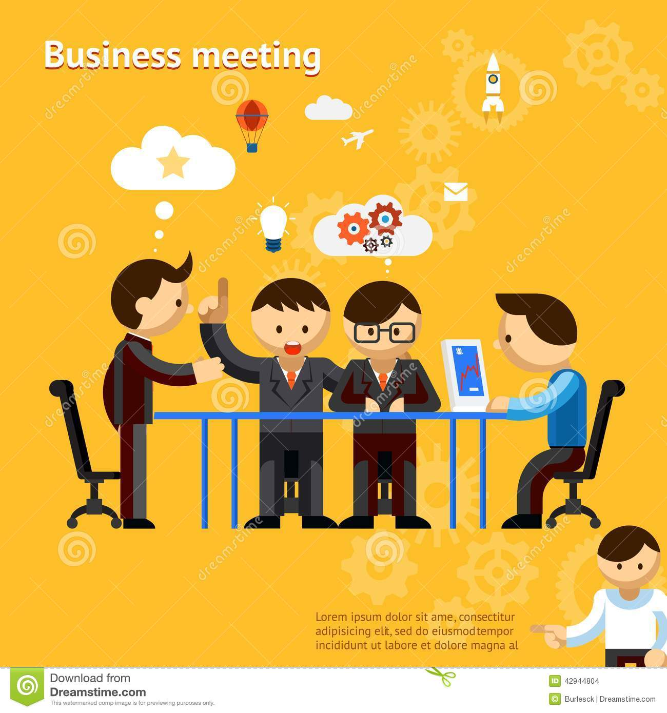 Business meeting, people negotiate at office table vector eps10
