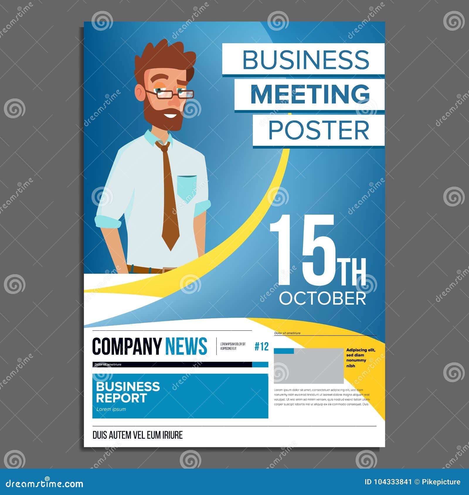 Business meeting poster vector businessman invitation for download business meeting poster vector businessman invitation for conference forum brainstorming stopboris Images