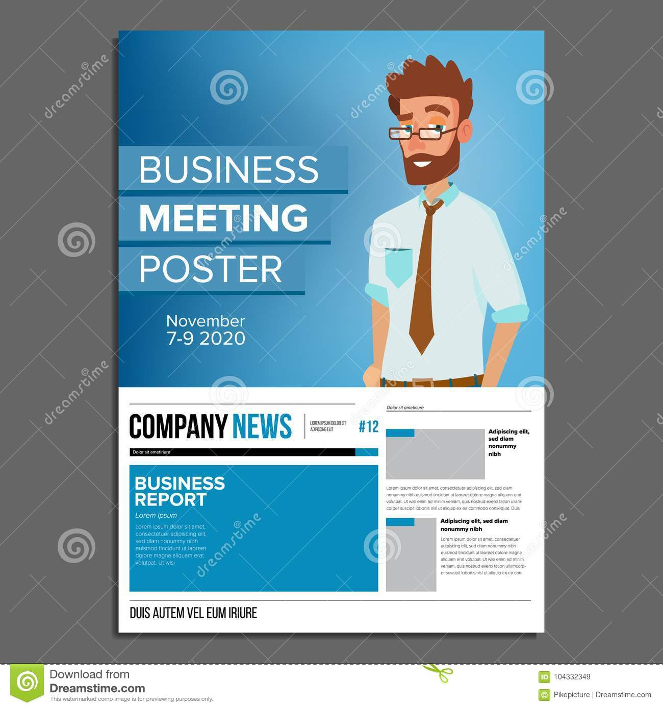 Business Meeting Poster Vector Businessman Invitation And Date