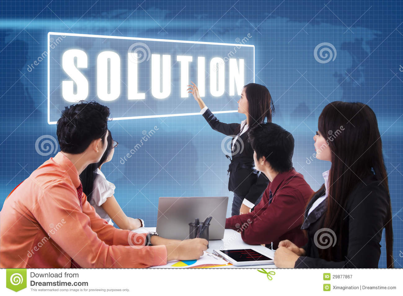 Business Meeting With Presentation A Solution Royalty Free ...