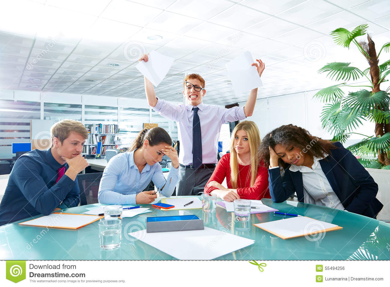 business meeting sad expression negative gesture stock