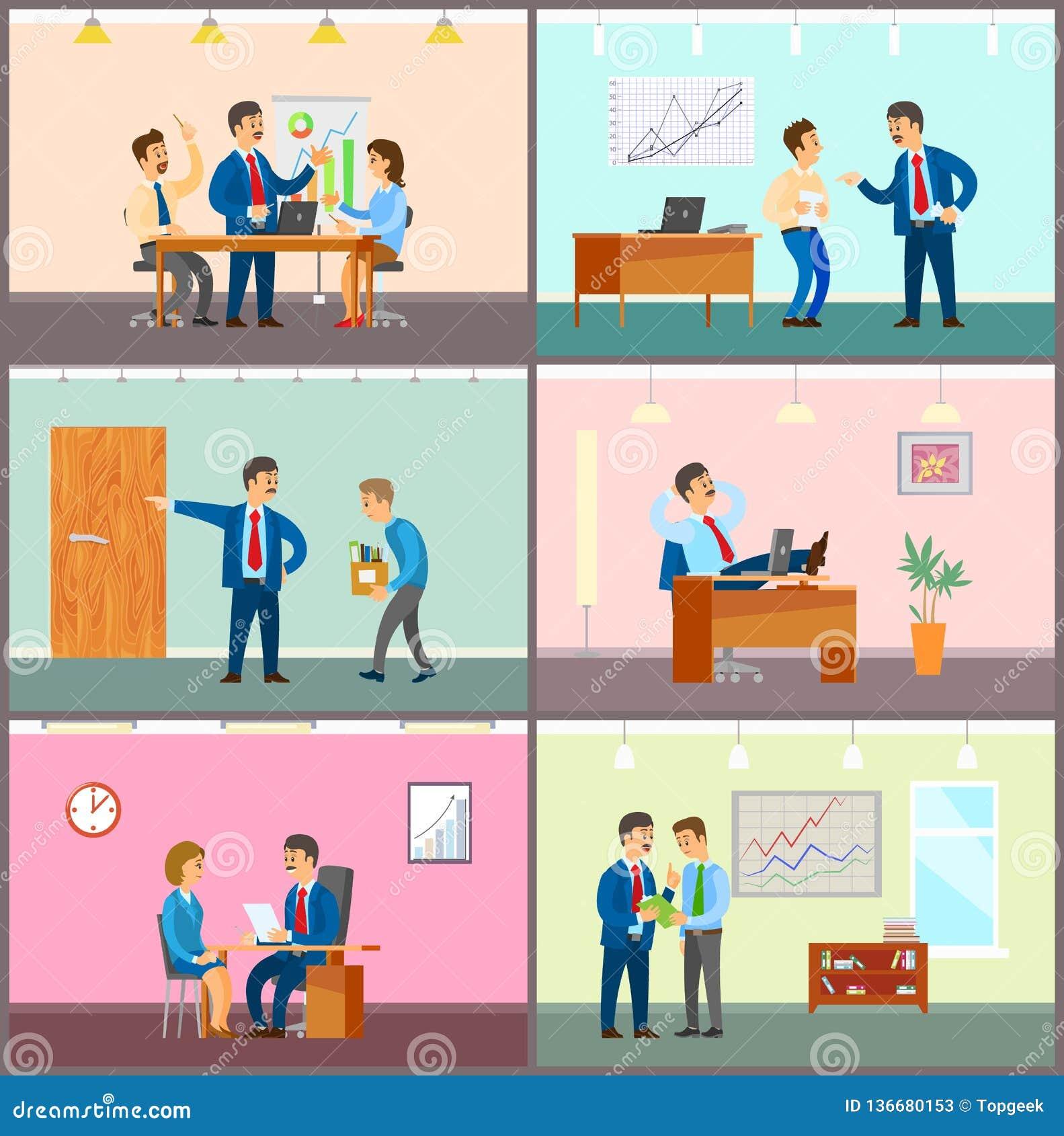 Business Meeting  Teamwork Brainstorming In Office Stock Vector