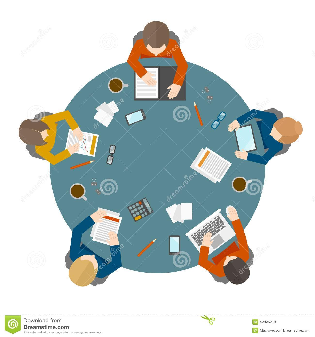 Round table meeting icon - Business Meeting In Top View Stock Vector Image 42436214