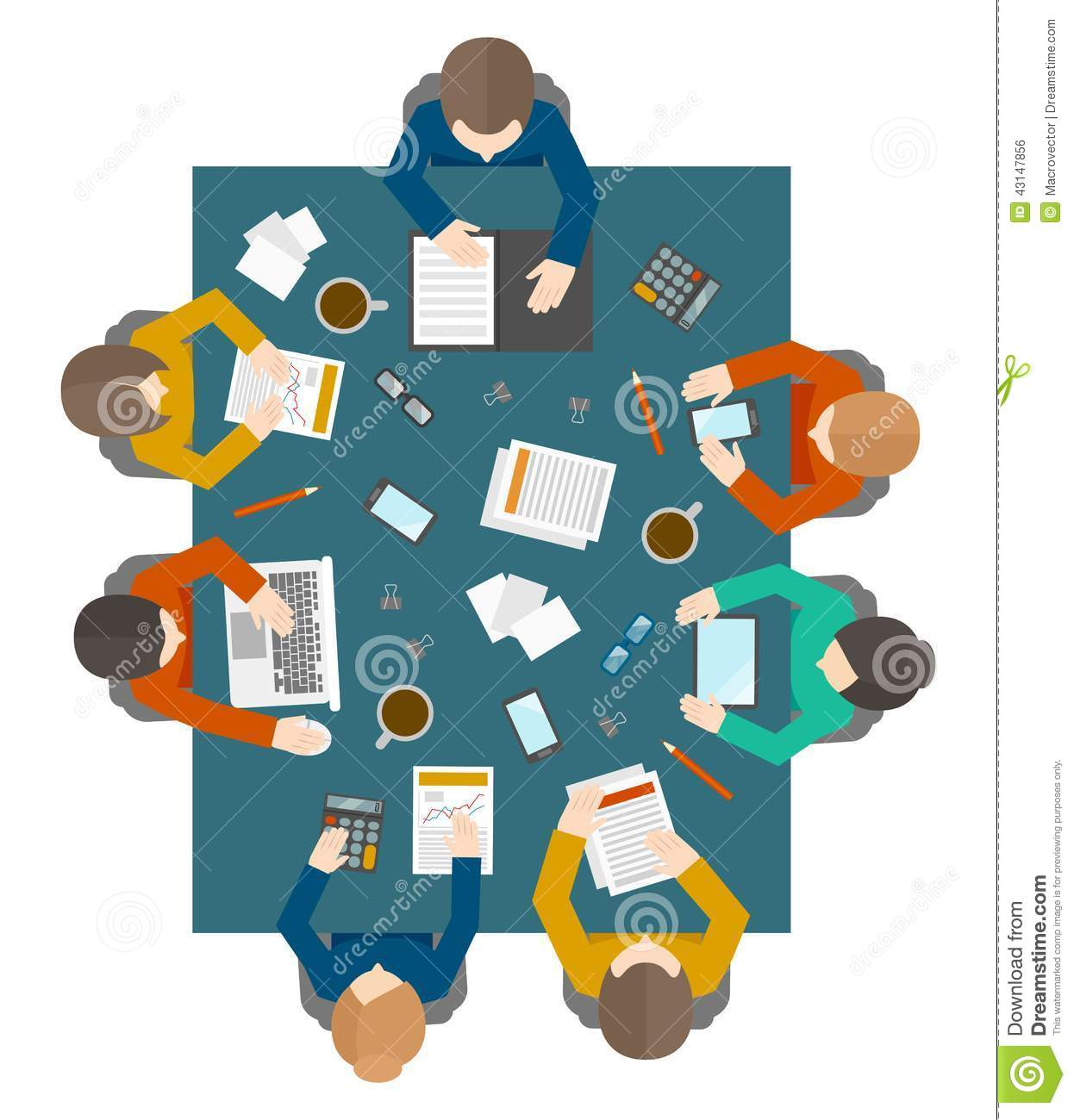 Round table meeting png - Business Meeting In Top View Stock Vector Image 43147856