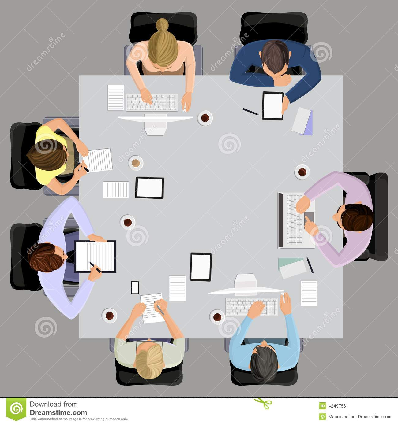 And brainstorming on the square table in top view vector illustration