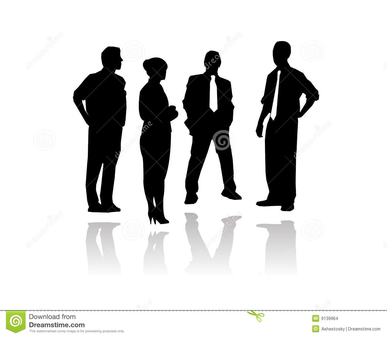 Vectored illustration as silhouette of businessmen and key people ...