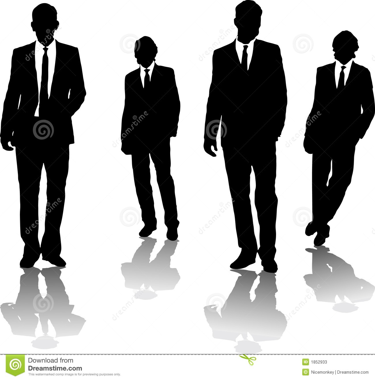 Four business men drawn in black silhouette in a gangster style.