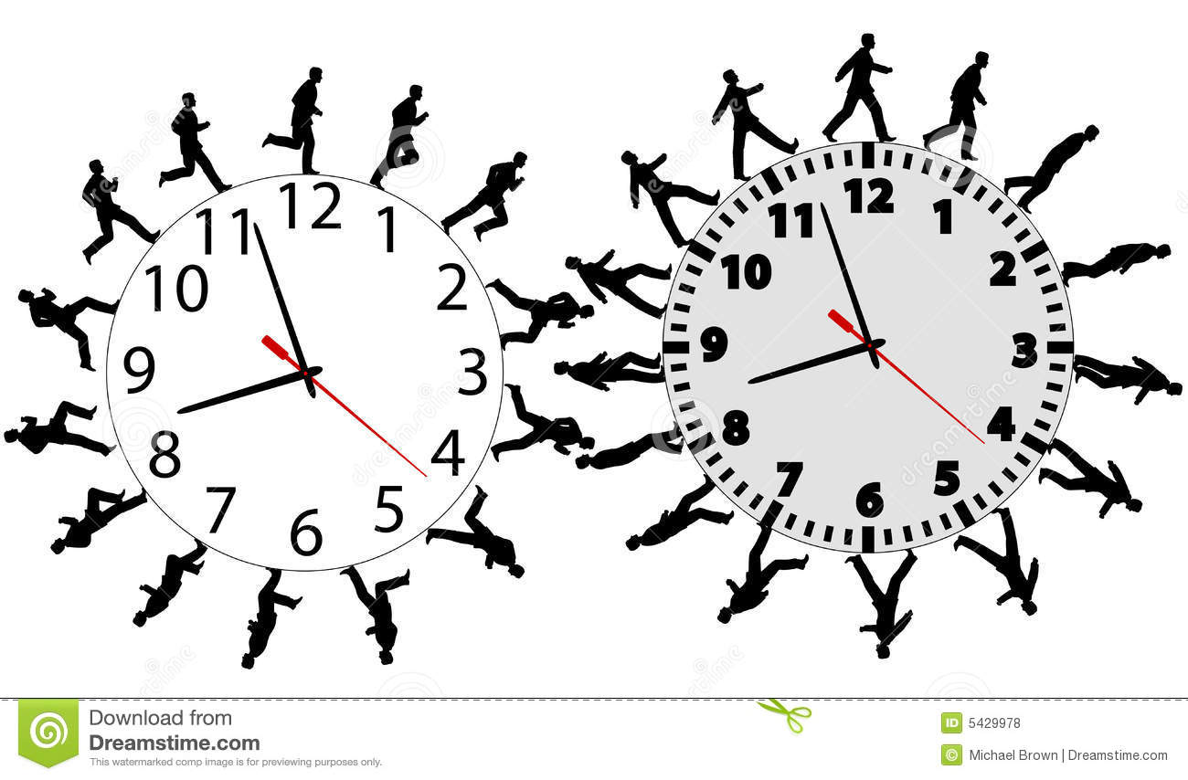 Business men in a hurry run walk on time clocks stock for Time for business