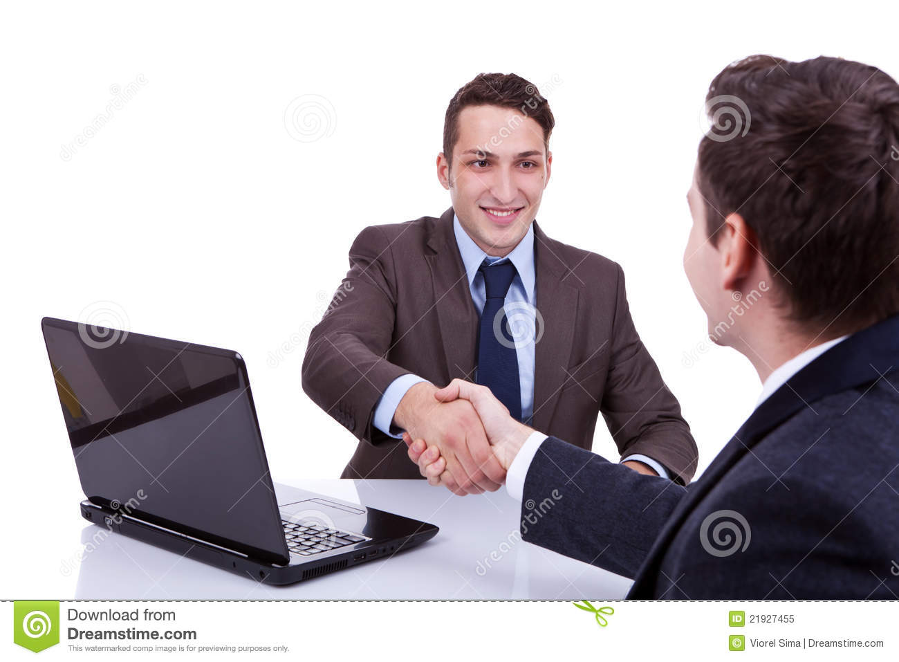 Business Men Reaching To An Agreement Royalty Free Stock