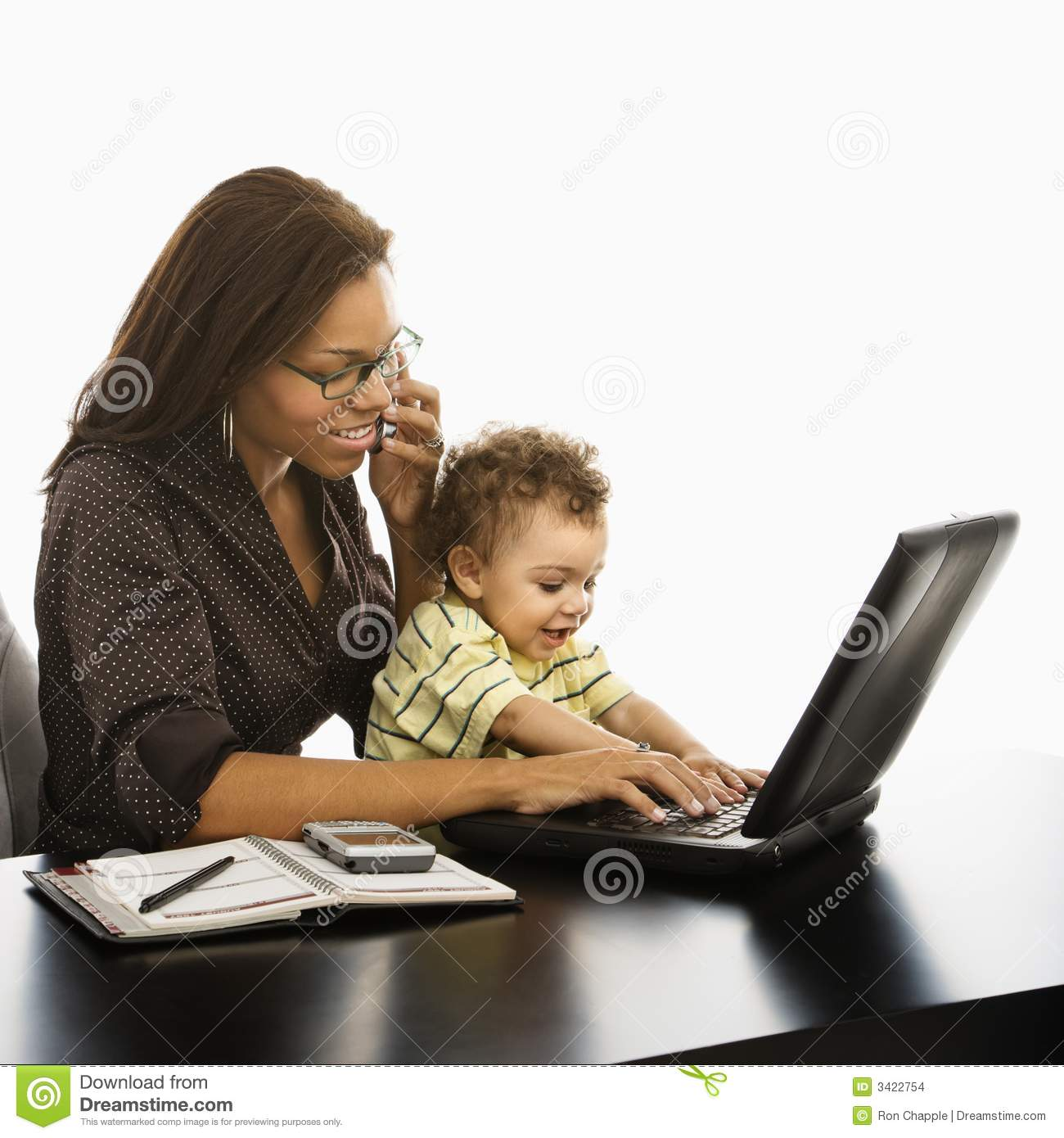Business mom with baby.