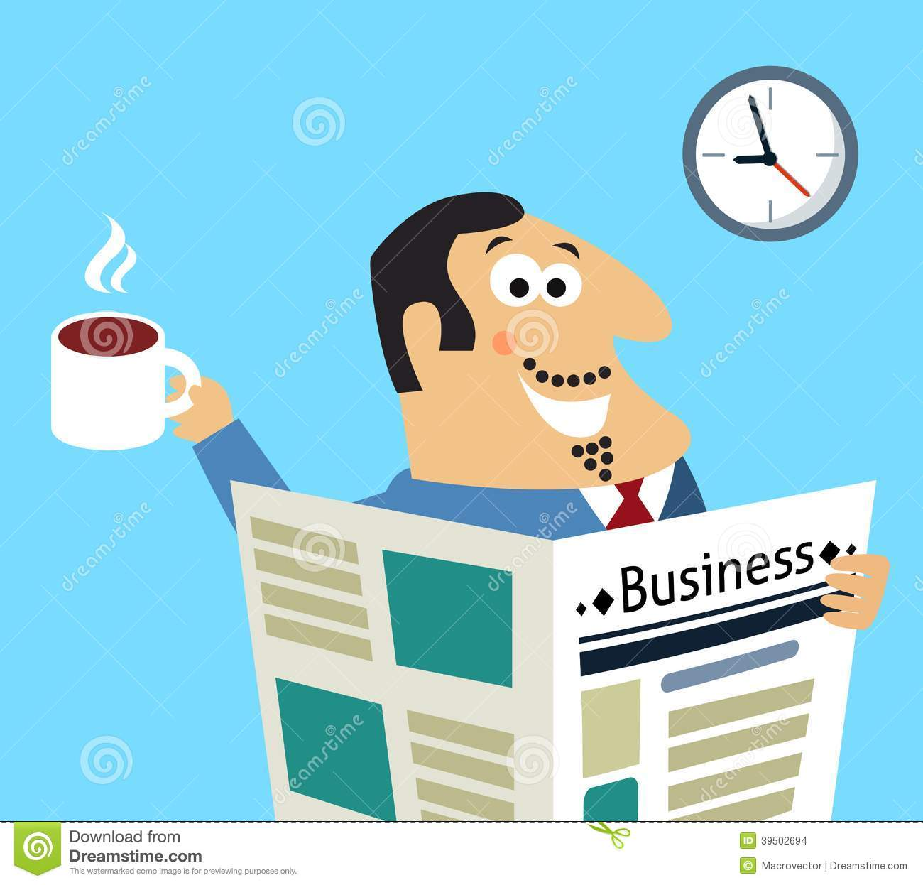 Business morning newspaper and coffee