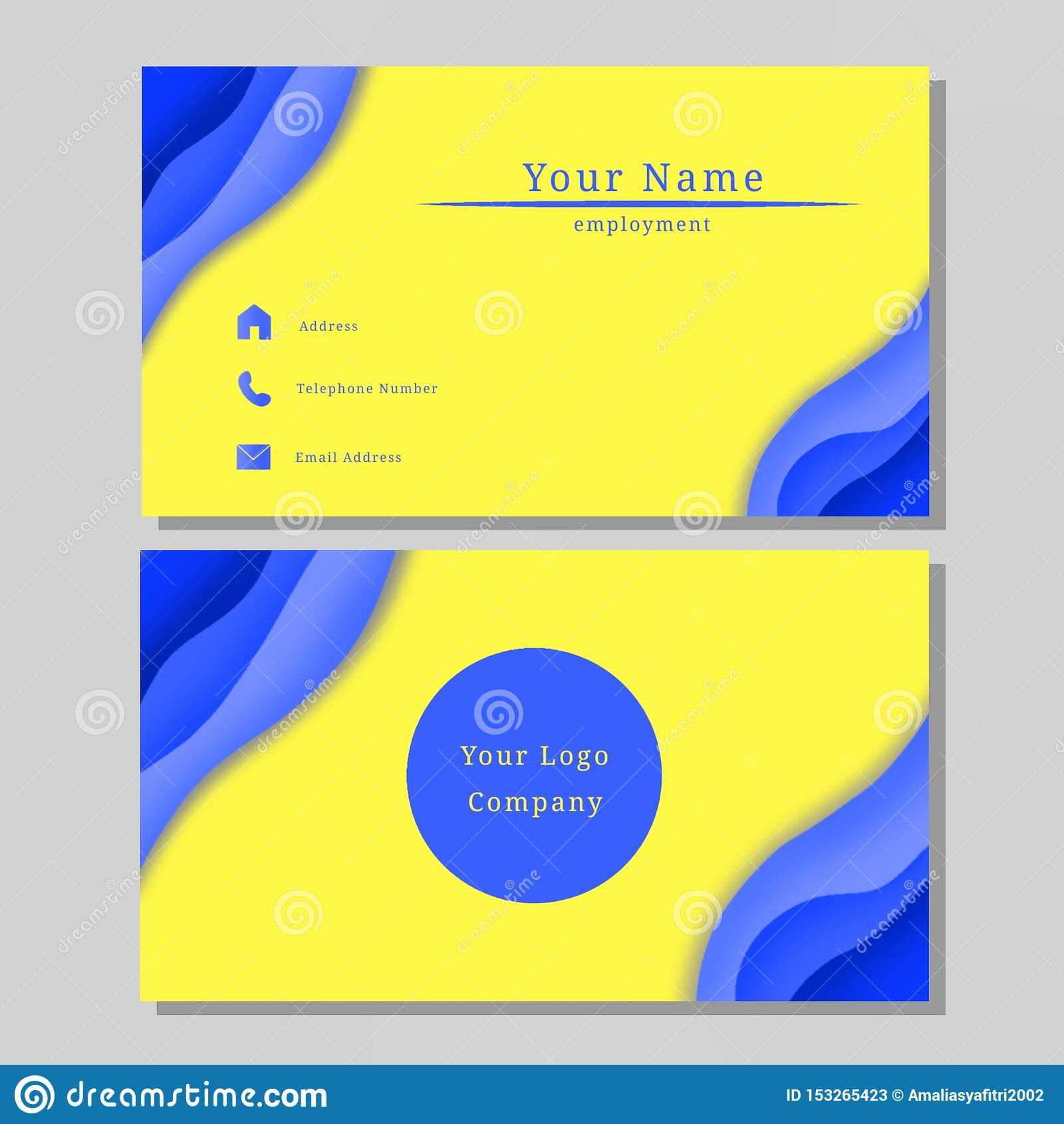Business Name Card Design Blue Yellow