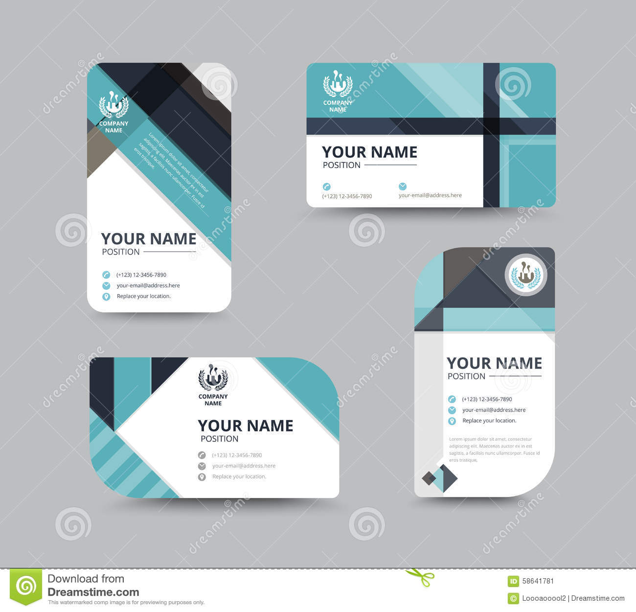 Business name card design for corporation card template vector business greeting card template design introduce card include sample text position vector illustration design accmission