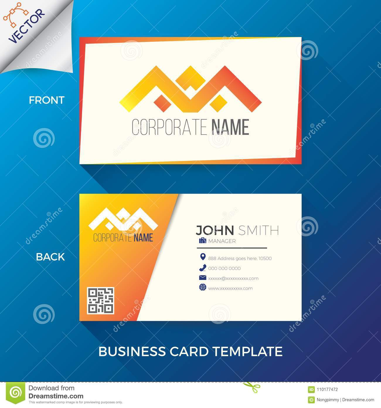 Business name card template stock vector illustration of mobile business name card template in creative modern and clean style with front and back layout colourmoves