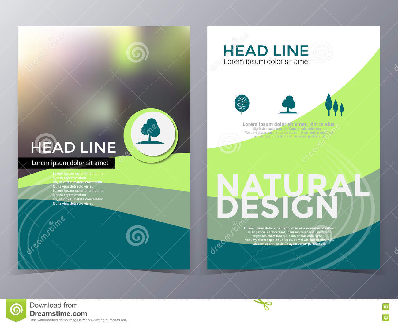 Poster design landscape - Business And Nature Brochure Design Template Vector Royalty Free Stock Photo