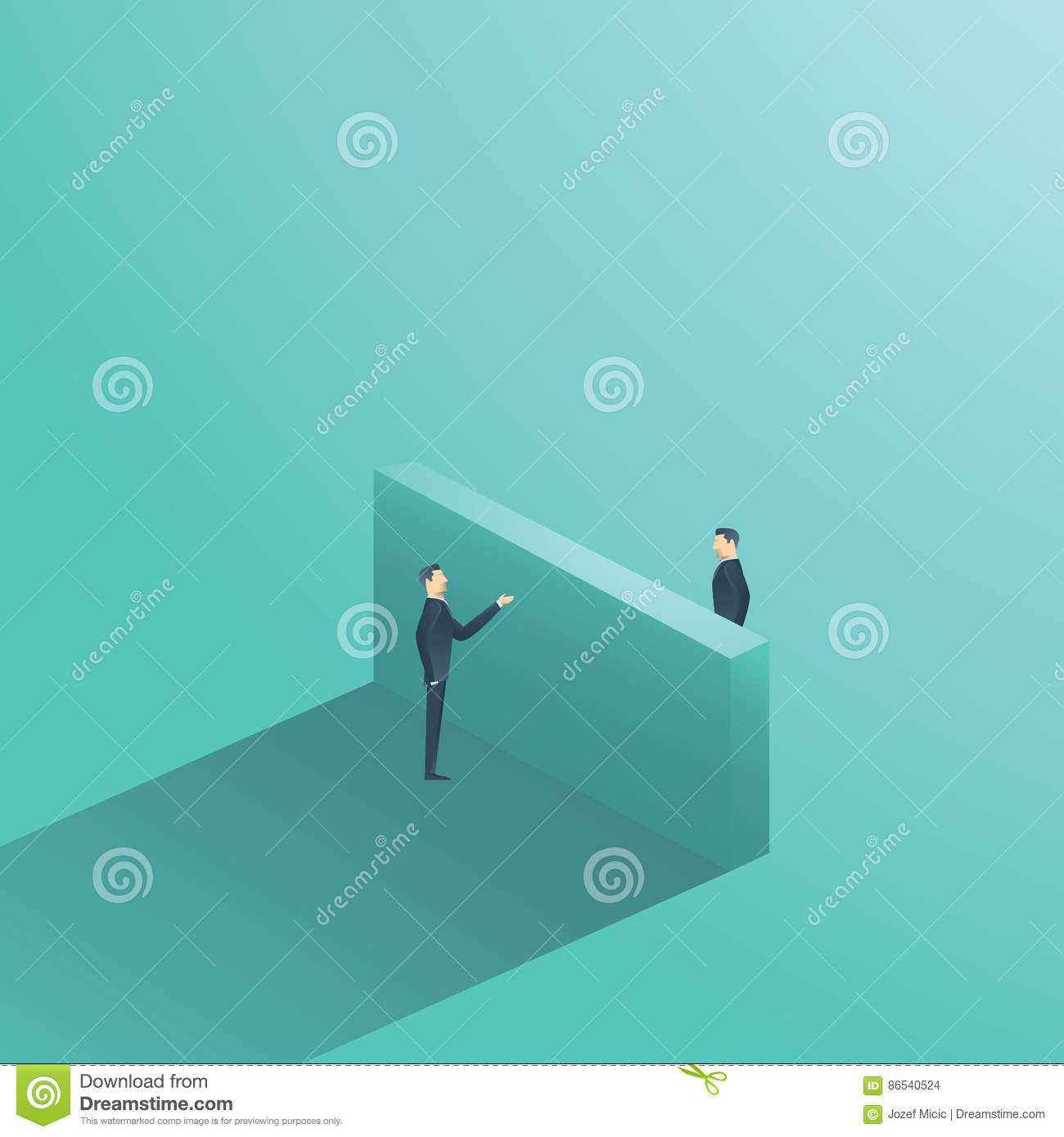 Business negotiation vector concept illustration with two businessman having conversation over the wall. Symbol of