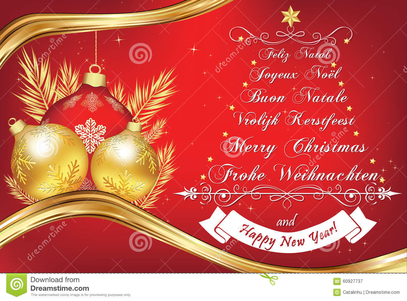 Business New Year Greeting Card In Many Languages Stock Vector ...
