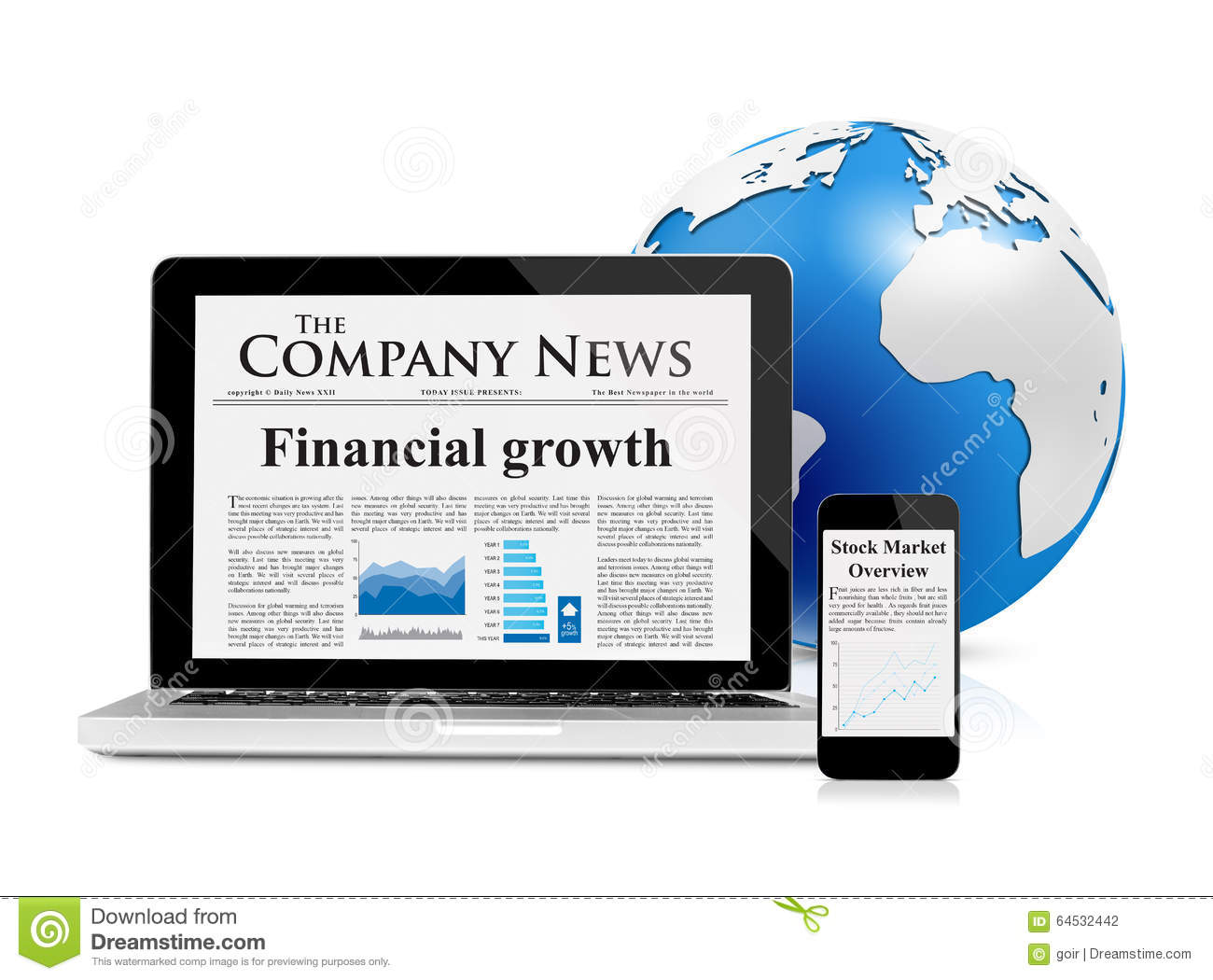 Business News Feed On Mobile Devices And Globe Stock