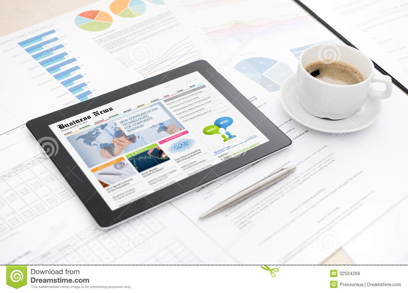 Modern digital tablet with business media website on a screen lying on ... Business Meeting Handshake