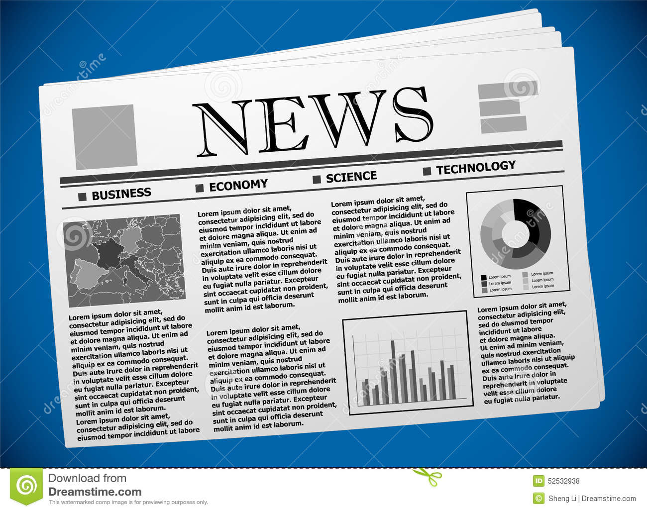 Business Newspaper Template With European Economy Stock