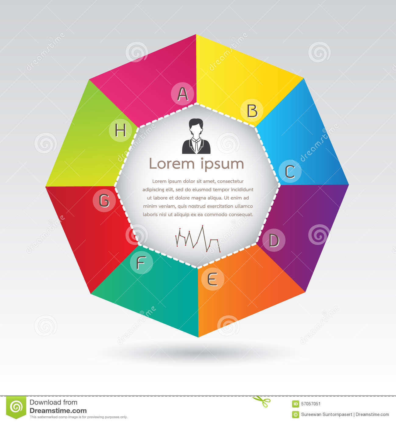 Business Octagon Diagram Infographic Presentation Stock Vector - Image ...