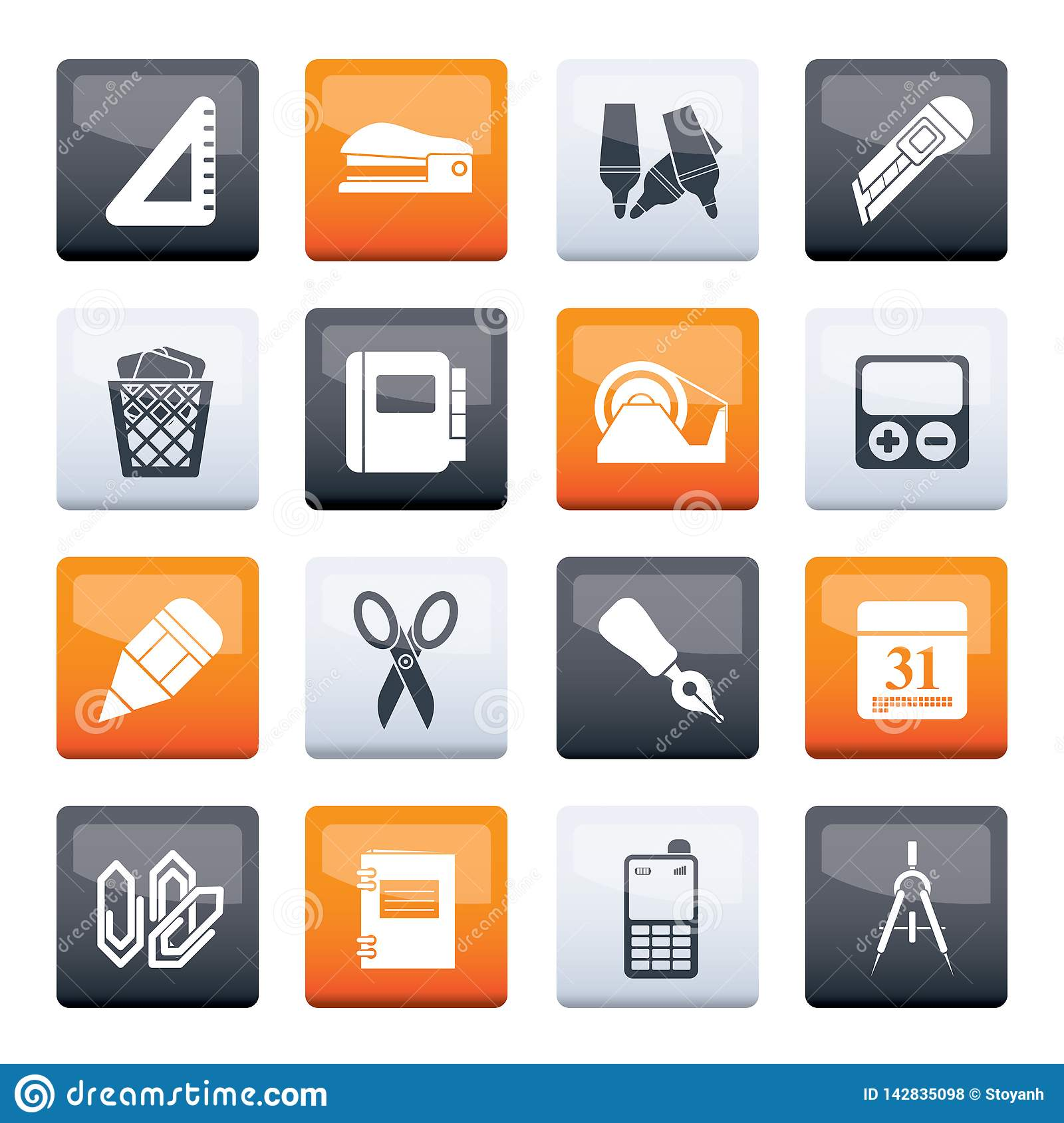 Business and office objects icons over color background