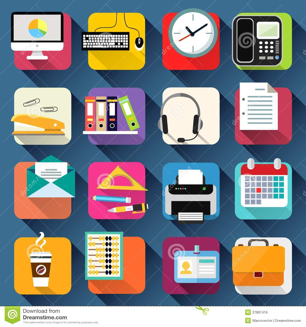business office stationery icons set stock vector illustration of