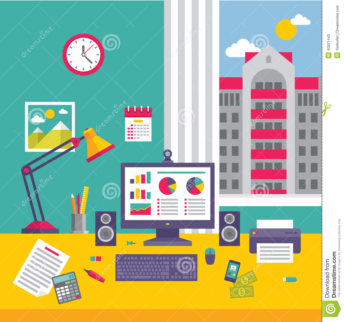 Business Office Workplace In Flat Design Style Stock