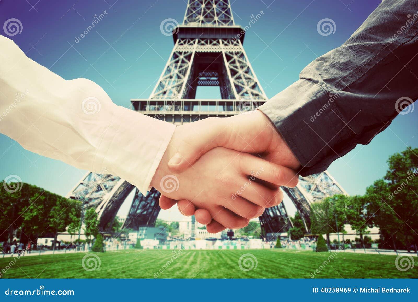 Business In Paris France Handshake Eiffel Tower