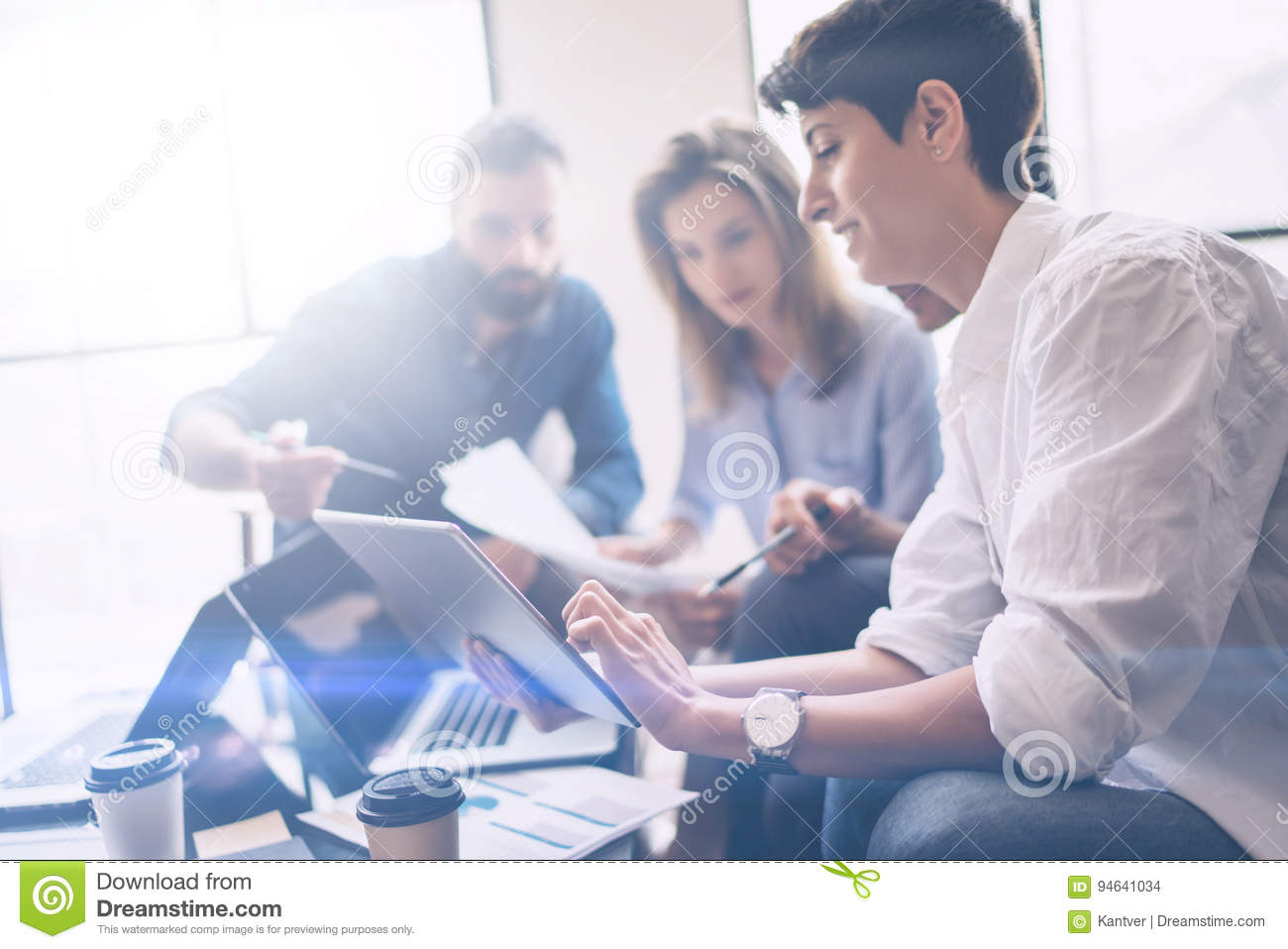 Business partners meeting concept.Coworkers team working new startup project at modern office.Analyze business documents