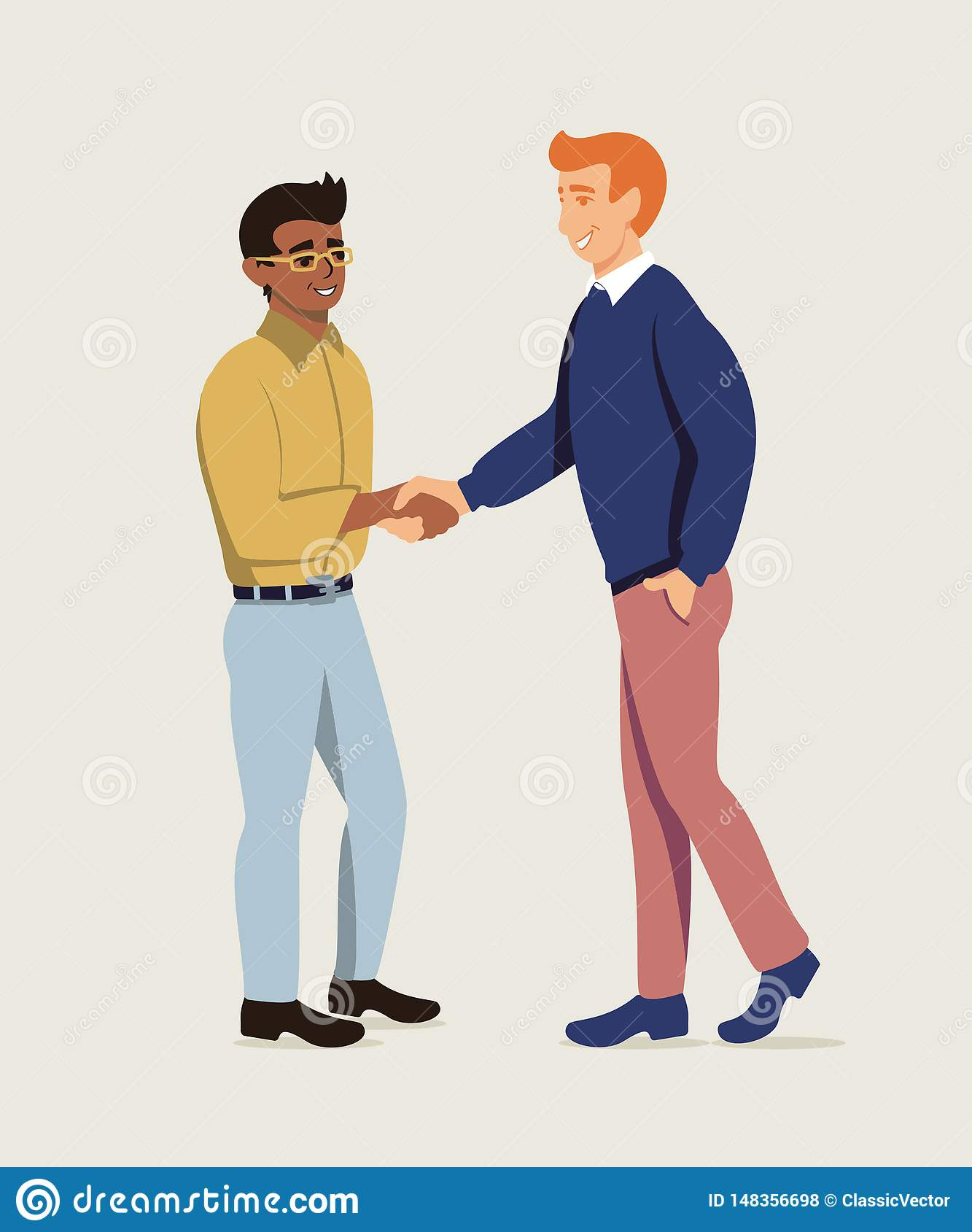 Business partners shaking hands flat illustration