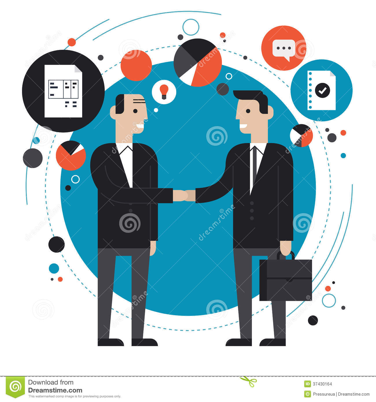Business Partnership Flat Illustration Stock Vector