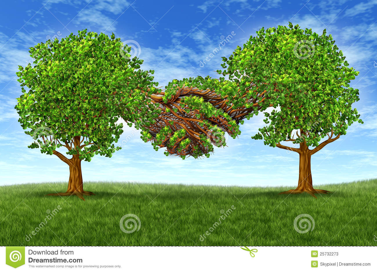 Business partnership growth success with two growing green trees in ...