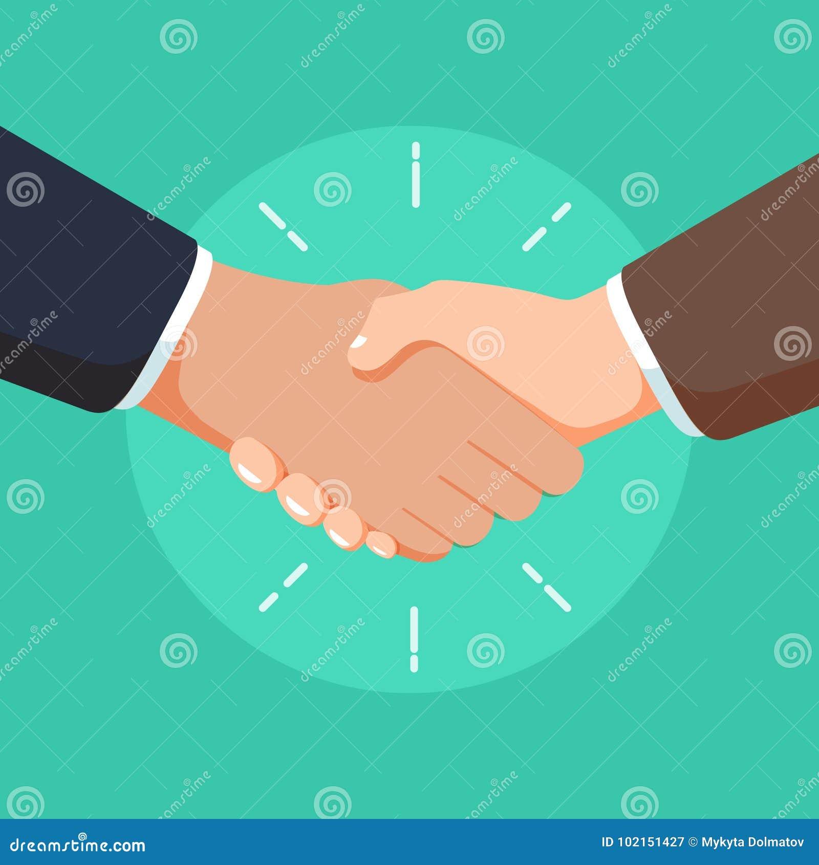 business partnership handshake illustration deal sign or