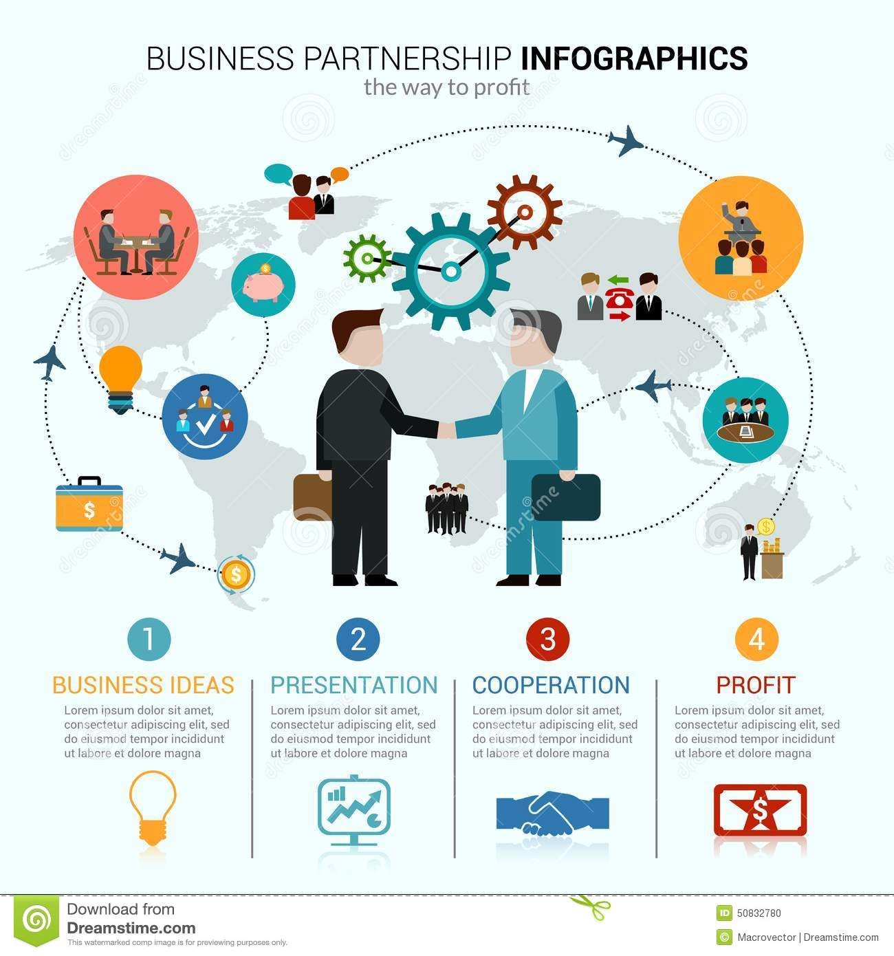 Business partnership infographics with idea presentation cooperation ...