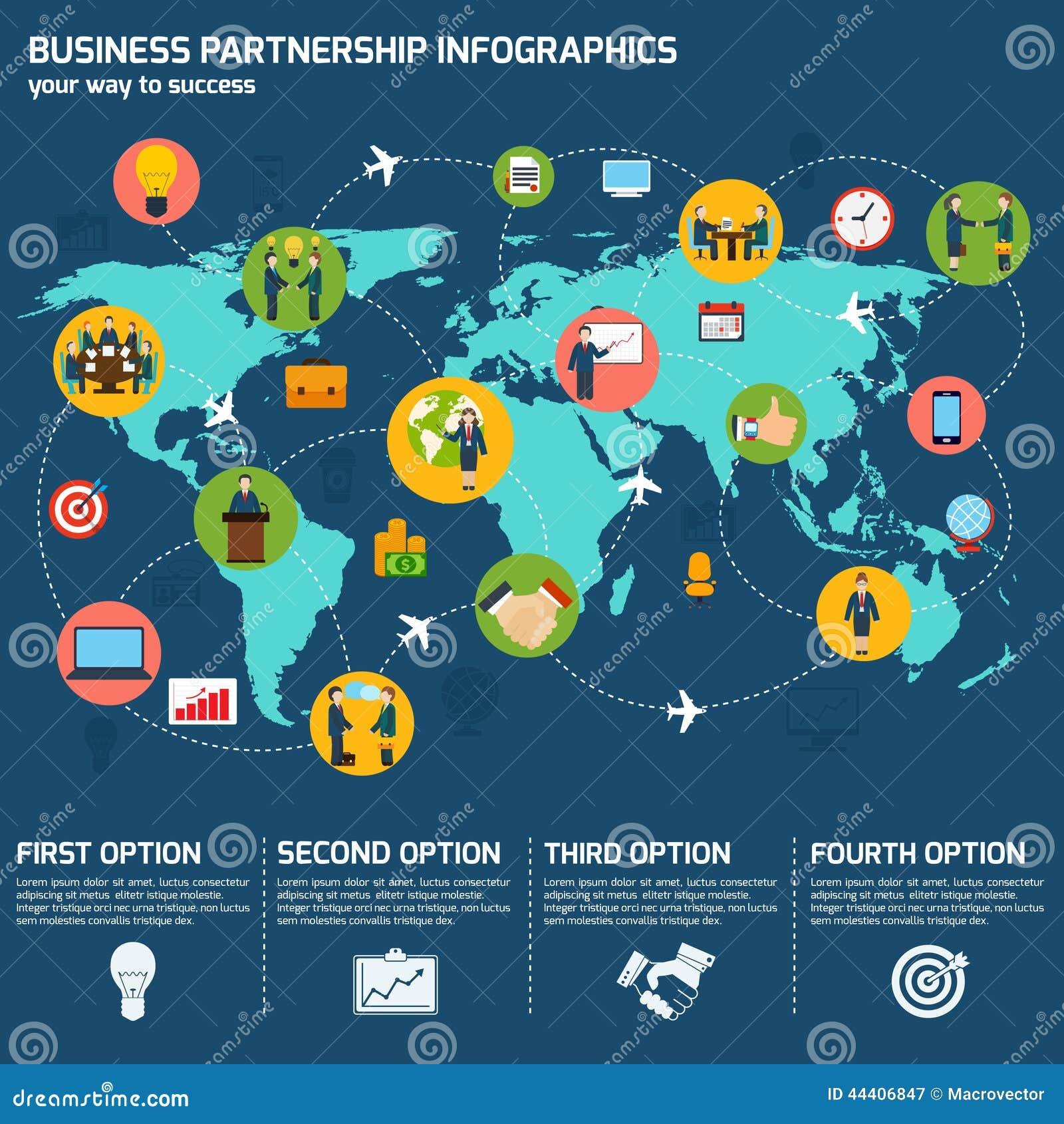 business partnership infographics stock vector