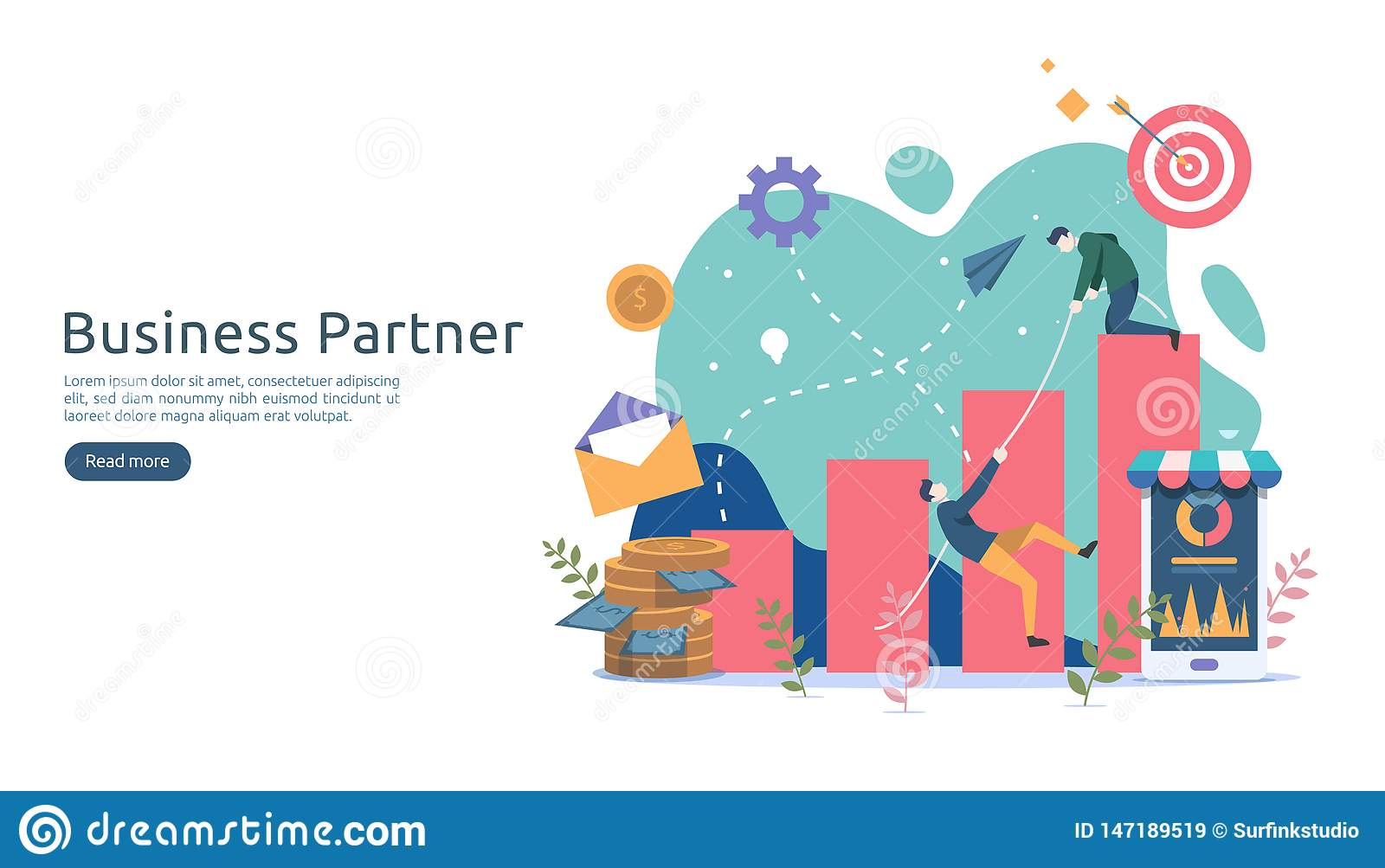 Business partnership relation concept idea with tiny people character. team working partner together template for web landing page