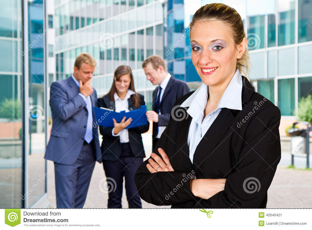 Business people with businesswoman leader on foreground